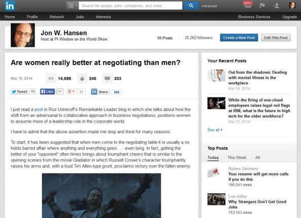 LinkedIn Women Negotiation Post Main May 2014