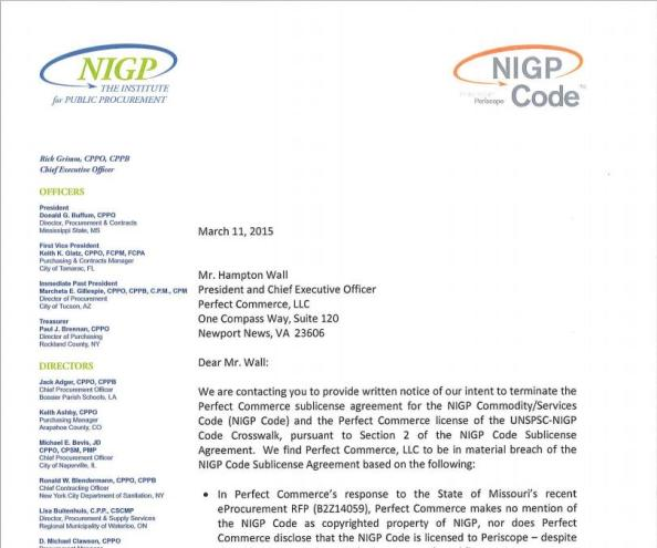 Missouri Bid NIGP Letter