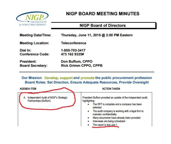 NIGP Audit Board Meeting