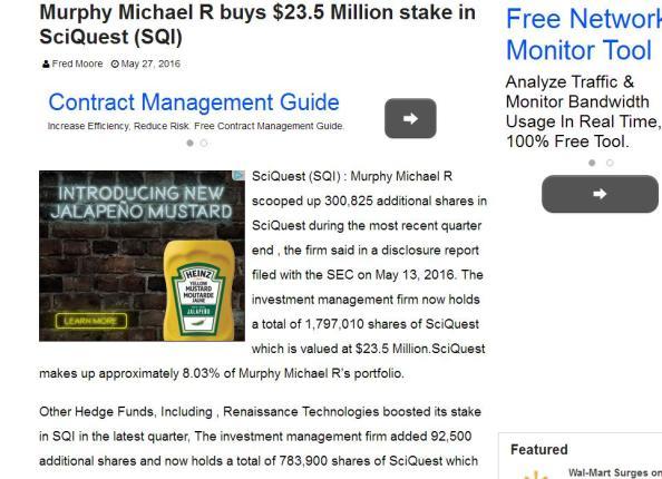 Murphy Michael R $23.5 Mil SciQuest